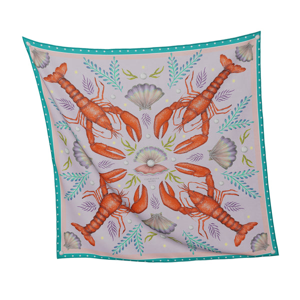 Luxe Lobsters in Mermaid's Jewels Silk Scarf - Available in 2 Sizes - 100% Silk or Vegan Faux Silk - Handmade to Order in London