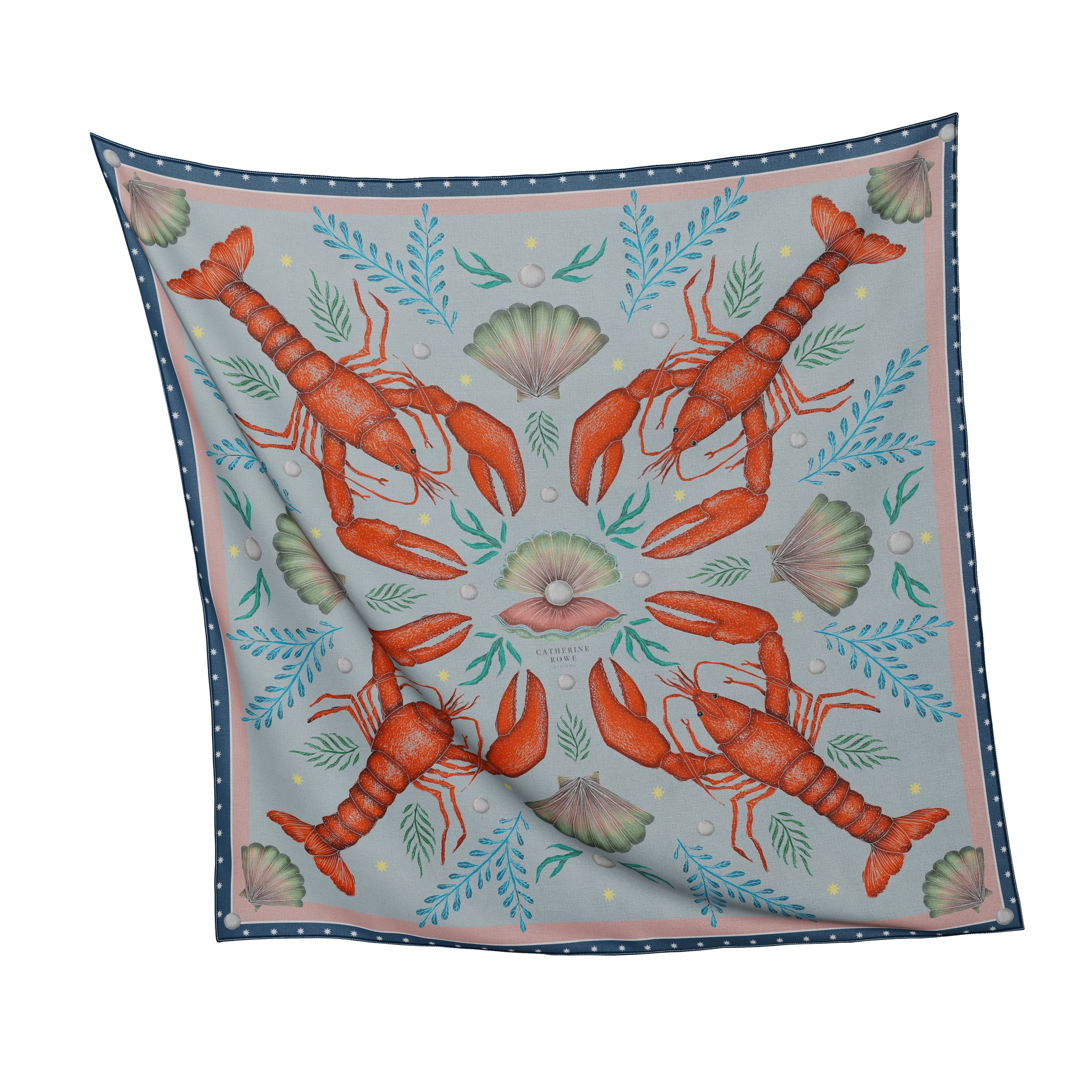 Luxe Lobsters in Aqua Silk Scarf - Available in 2 Sizes - 100% Silk or Vegan Faux Silk - Handmade to Order in London
