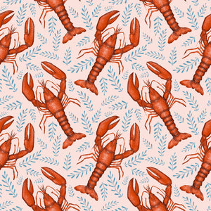 Pink Lobsters Print Wallpaper