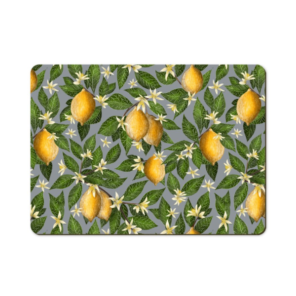 Lemon Pattern Wooden Placemats - Handmade to order in London