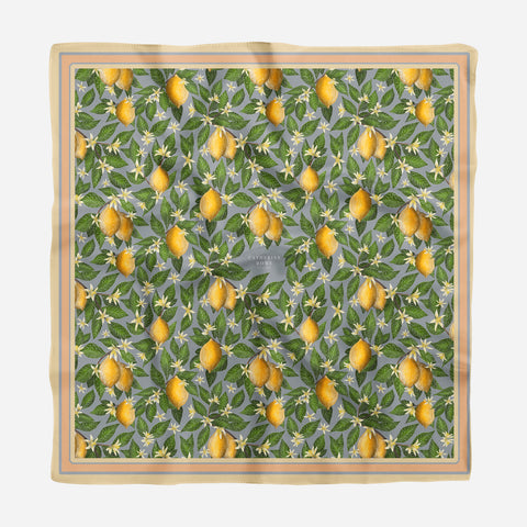 Lemons Pattern Silk Scarf - Available in 2 Sizes - 100% Silk or Vegan Faux Silk - Handmade to Order in London