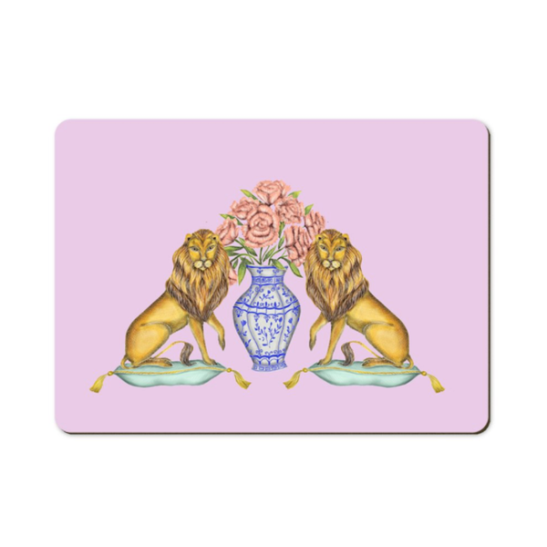Lions and Peonies Wooden Placemats - Handmade to order in London