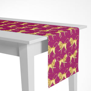 Lions Pattern in Ruby Luxury Table Runner - Handmade in London - 2 Sizes Available