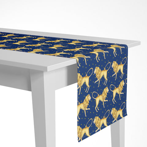 Lions Pattern in Sapphire Luxury Table Runner - Handmade in London - 2 Sizes Available