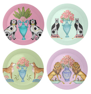 China Figures and Flowers Coaster Set