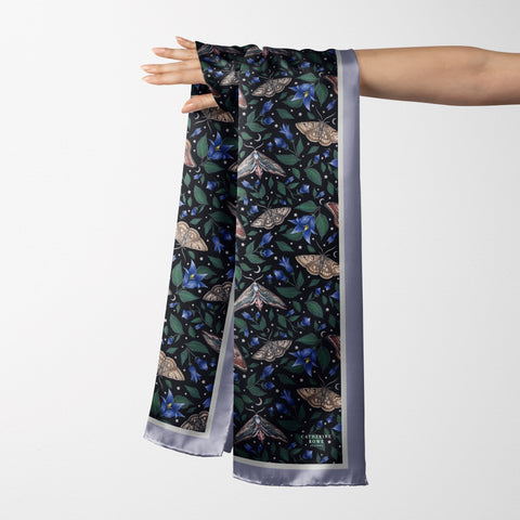 Vegan Silk Oblong Scarf in Moths Pattern