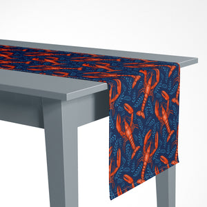 Lobsters Pattern in Navy Luxury Table Runner - Handmade in London - 2 Sizes Available