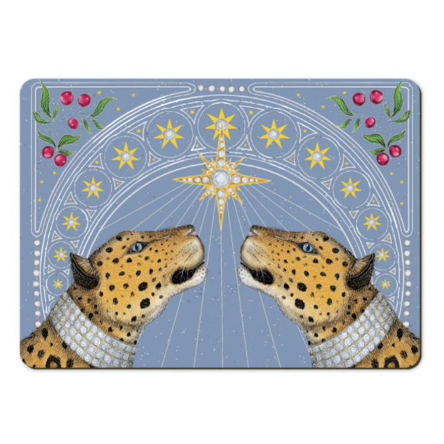 Nouveau Leopards in Frost Placemats - Handmade to order in London