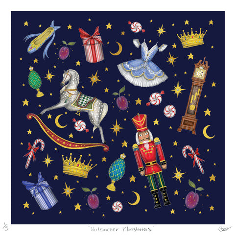 Gold Foil Detail Nutcracker Christmas Print - Super Limited Edition of 5 - Royal Jewel Blue