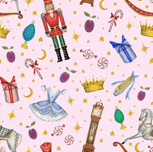 Nutcracker Pattern in Candy Pink Fabric