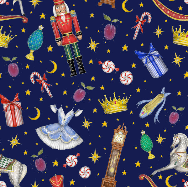 The Nutcracker Pattern in Sapphire Blue Luxury Table Runner - Handmade in London - 2 Sizes Available