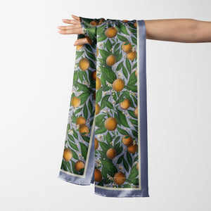 Vegan Silk Oblong Scarf in Oranges Pattern