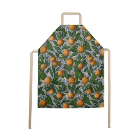 Orange Blossom Pattern Luxury Soft Apron - Handmade to Order in London