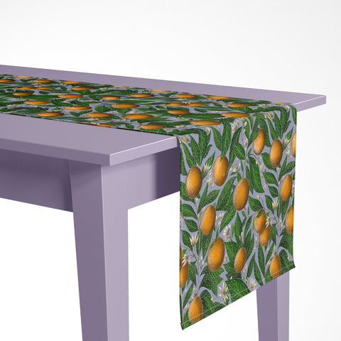 Orange Blossom Pattern Luxury Table Runner - Handmade in London - 2 Sizes Available