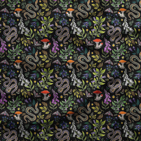 Poisonous Pattern in Midnight Black Fabric