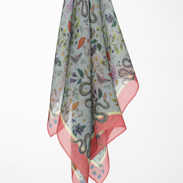 Poison Pattern Silk Scarf - Available in 2 Sizes - 100% Silk or Vegan Faux Silk - Handmade to Order in London