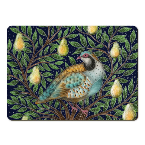 Partridge in a Pear Tree in the Snow Placemats - Handmade to order in London