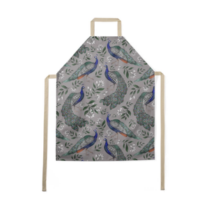 Peacock Pattern Luxury Soft Apron - Handmade to Order in London