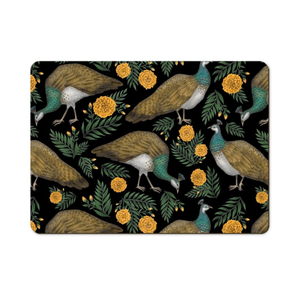 Peahen Pattern Wooden Placemats - Handmade to order in London