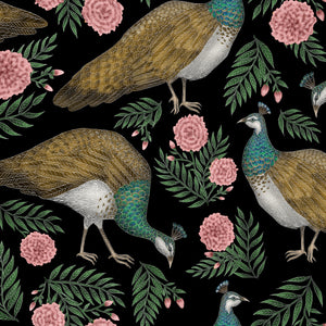 Peahen & Pink Marigolds Pattern Wallpaper