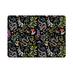 Poisonous Pattern in Midnight Black Wooden Placemats - Handmade to order in London