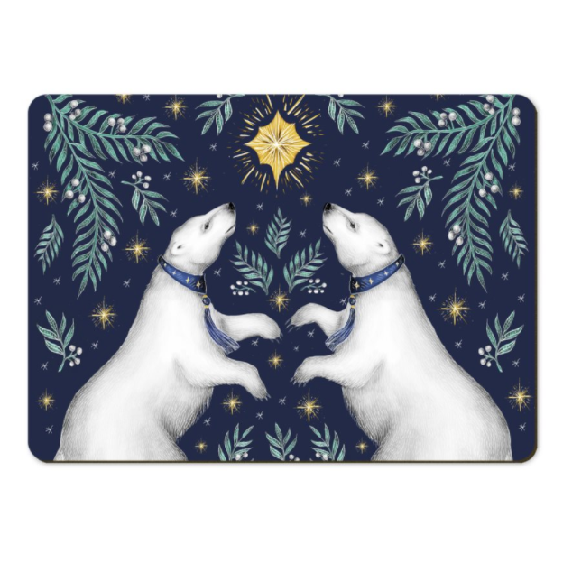 Polar Bears in Sapphire Placemats - Handmade to order in London