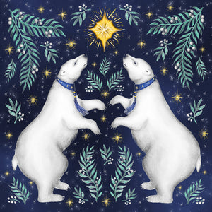 Dancing Polar Bears Christmas Greeting Cards - Pack of 5