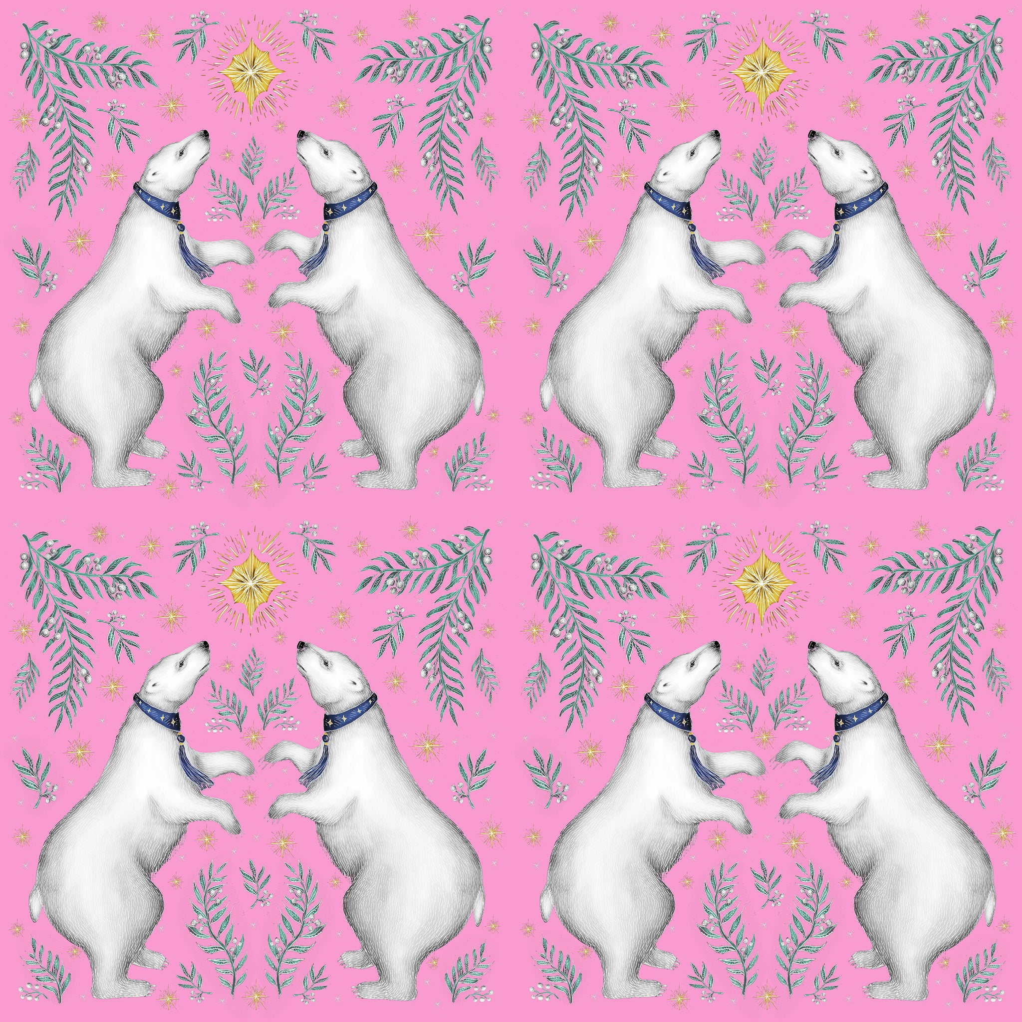 Polar Bear Pattern in Candy Pink Fabric