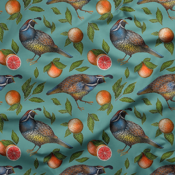 California Quails and Grapefruits Fabric