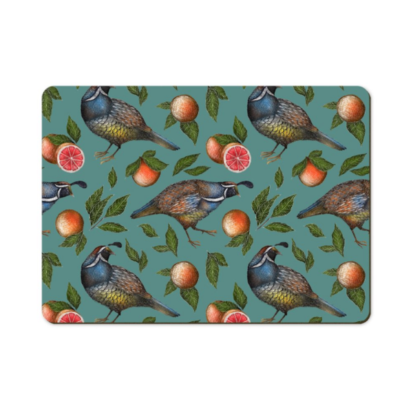 Quails Pattern Wooden Placemats - Handmade to order in London