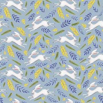 Leaping White Hare Pattern in Powder Blue Wallpaper