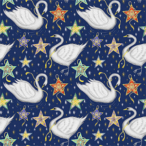Christmas Swan Pattern Fabric