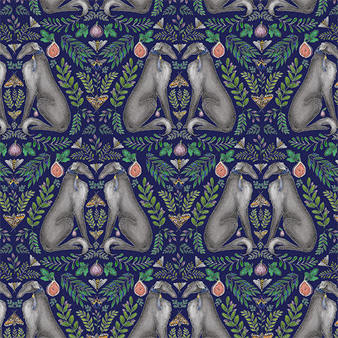 Borzoi Pattern in Navy Blue Wallpaper