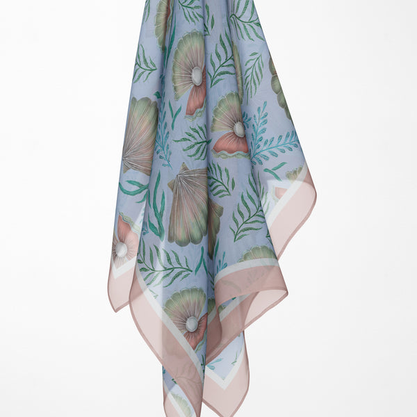 Shell Pattern Silk Scarf - Available in 2 Sizes - 100% Georgette silk or Vegan Chiffon Silk - Handmade to Order in London