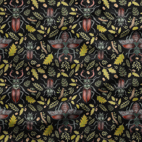 Stag Beetles Pattern Fabric