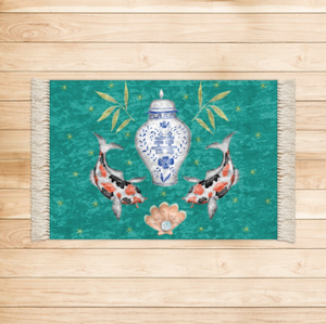 Koi Carp and Ginger Jar Luxurious Velvet Rug