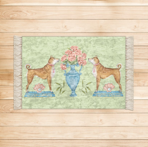 Shiba Dog and Peonies Luxurious Velvet Rug