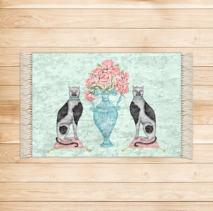 China Cats and Peonies Luxurious Velvet Rug