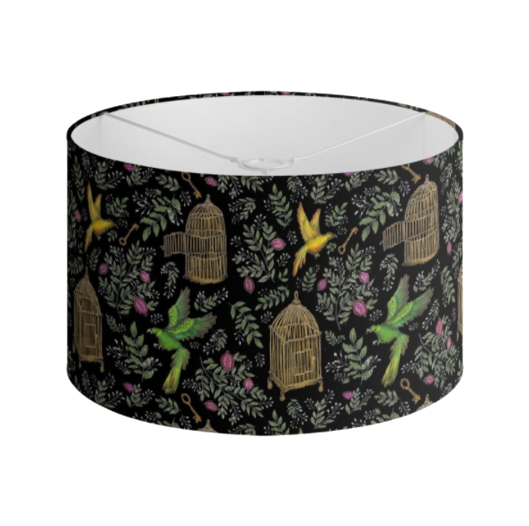 Birds and Cages Pattern Handmade to order Lampshade - 3 Sizes Available