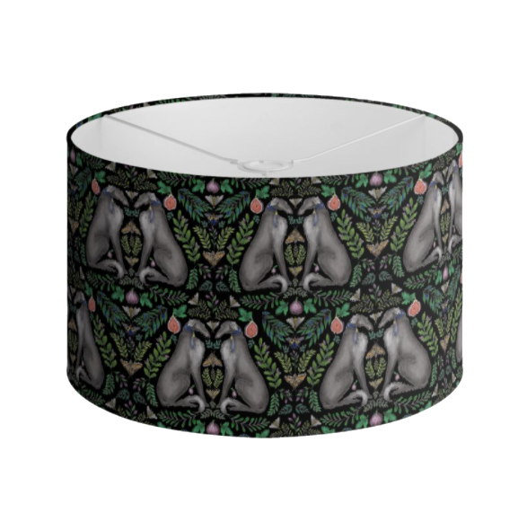 Borzoi Pattern in Midnight Black Handmade to order Lampshade - 3 Sizes Available
