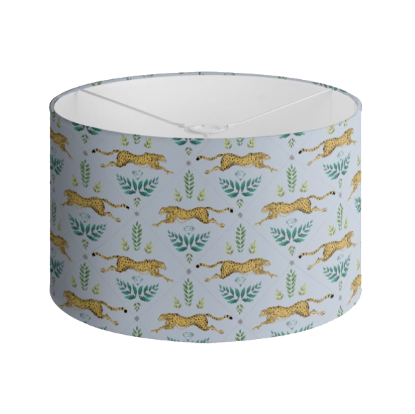 Cheetah Pattern in Sky Blue Handmade to order Lampshade - 3 Sizes Available