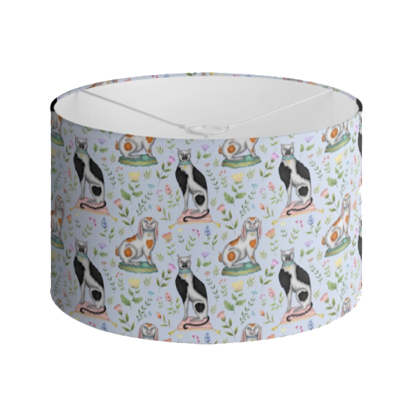 China Cats and Rabbits Pattern in Powder Blue Handmade to order Lampshade - 3 Sizes Available