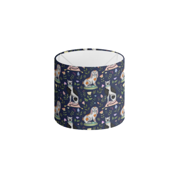 China Cats and Rabbits Pattern in Navy Blue Handmade to order Lampshade - 3 Sizes Available