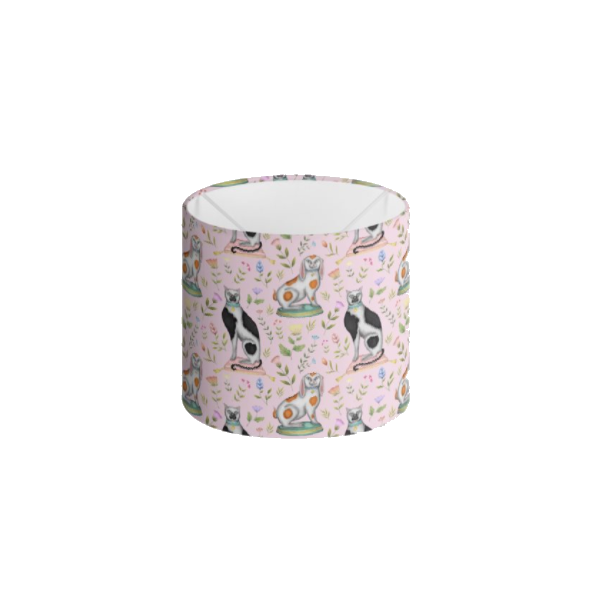 China Cats and Rabbits Pattern in Petal Pink Handmade to order Lampshade - 3 Sizes Available