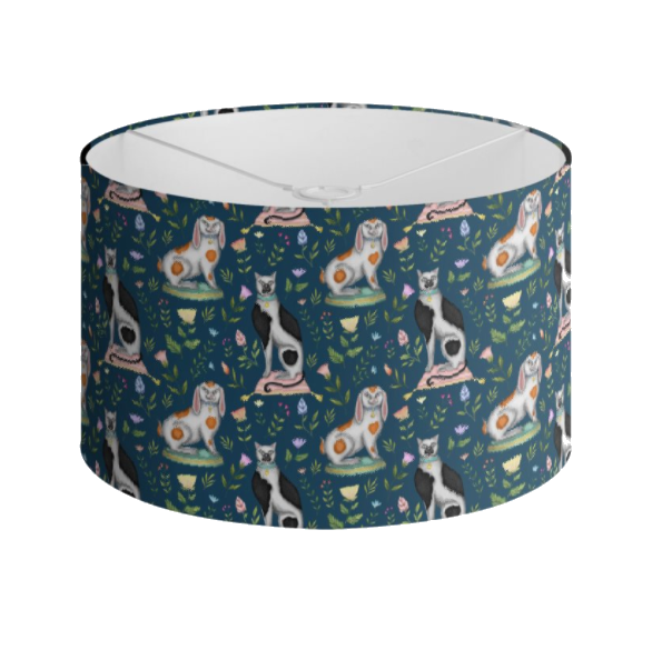 China Cats and Rabbits Pattern in Teal Handmade to order Lampshade - 3 Sizes Available