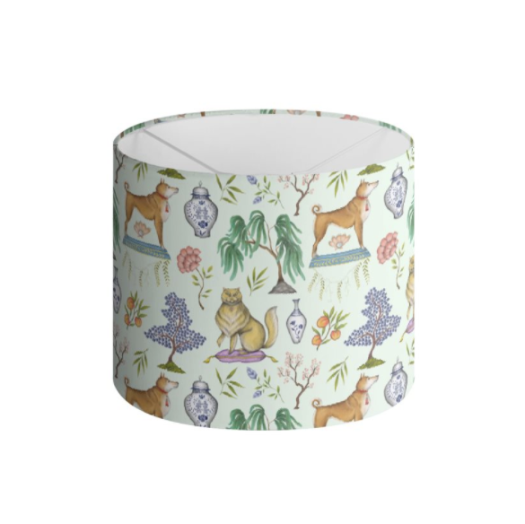 Chinoiserie Menagerie in Willow Green Handmade to order Lampshade - 3 Sizes Available
