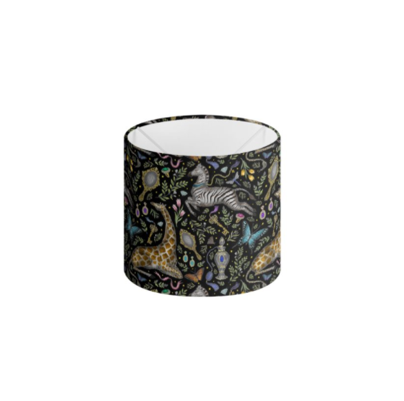 Dressing Table Pattern in Midnight Black Handmade to order Lampshade - 3 Sizes Available