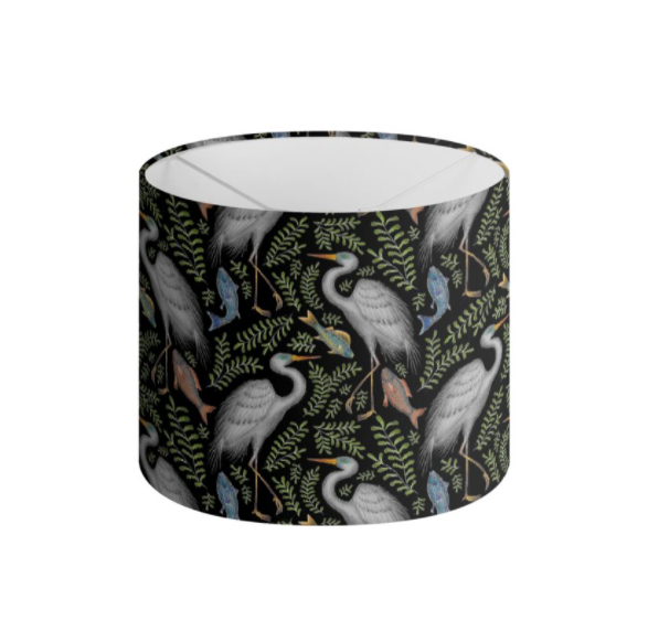 Egret Pattern Handmade to order Lampshade - 3 Sizes Available