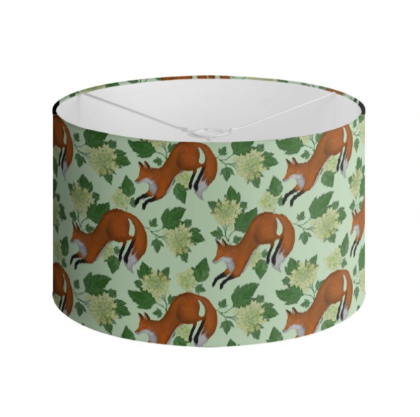 Foxes Pattern in Green Handmade to order Lampshade - 3 Sizes Available