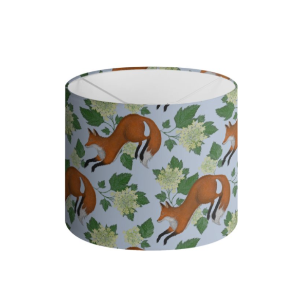 Foxes Pattern in Blue Handmade to order Lampshade - 3 Sizes Available